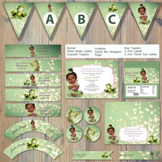 Instant Download Princess and the Frog Green Bokeh Baby Tiana – Princess Tiana Party Invitations