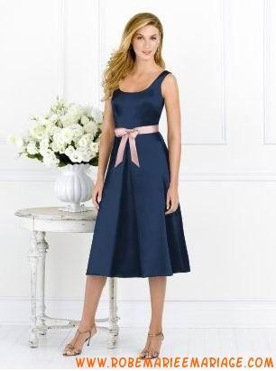 Bleu et rose ceinture satin robe demoiselle d'honneur