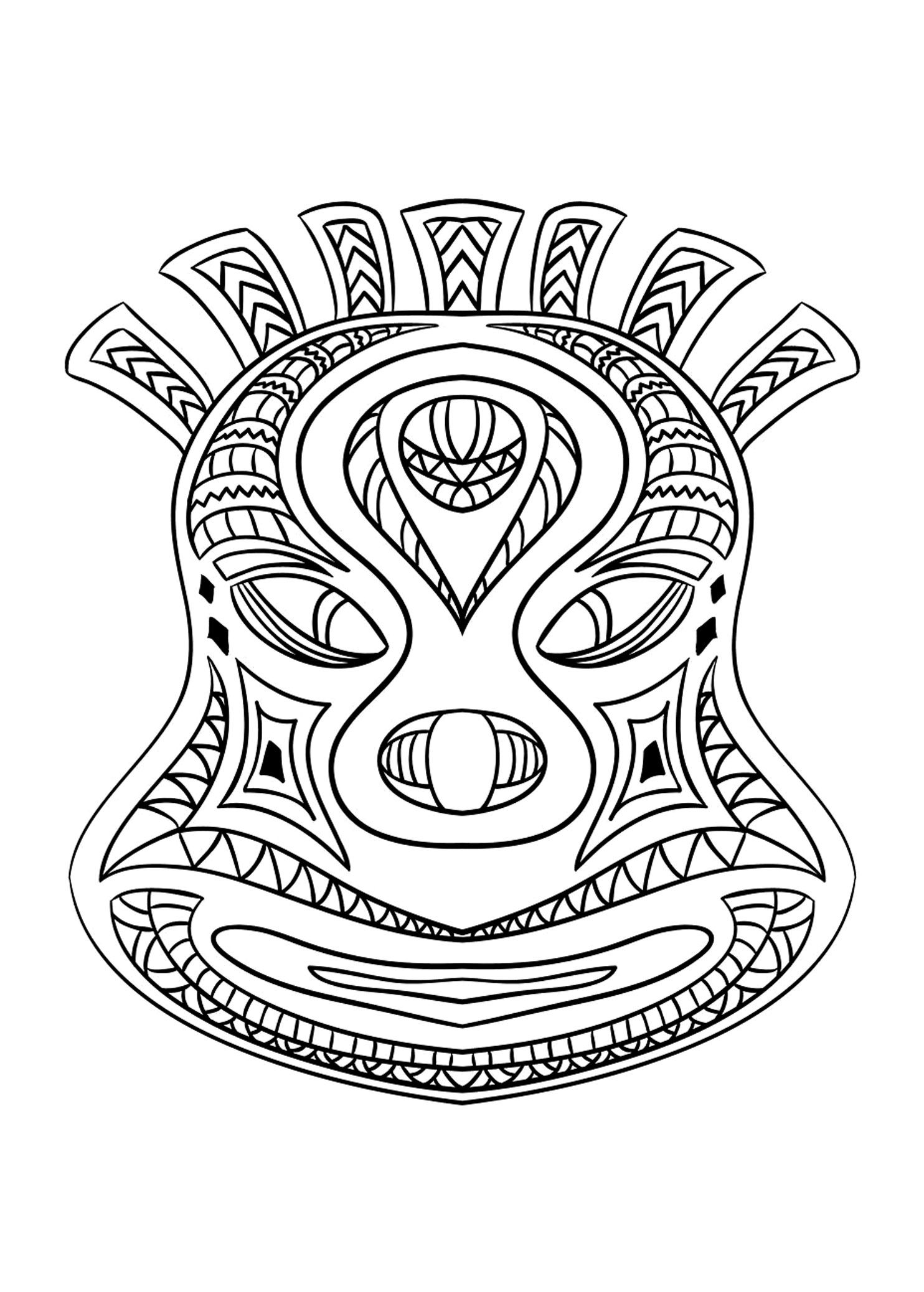 Free coloring page coloring-adult-african-mask-2. Coloring picture ...