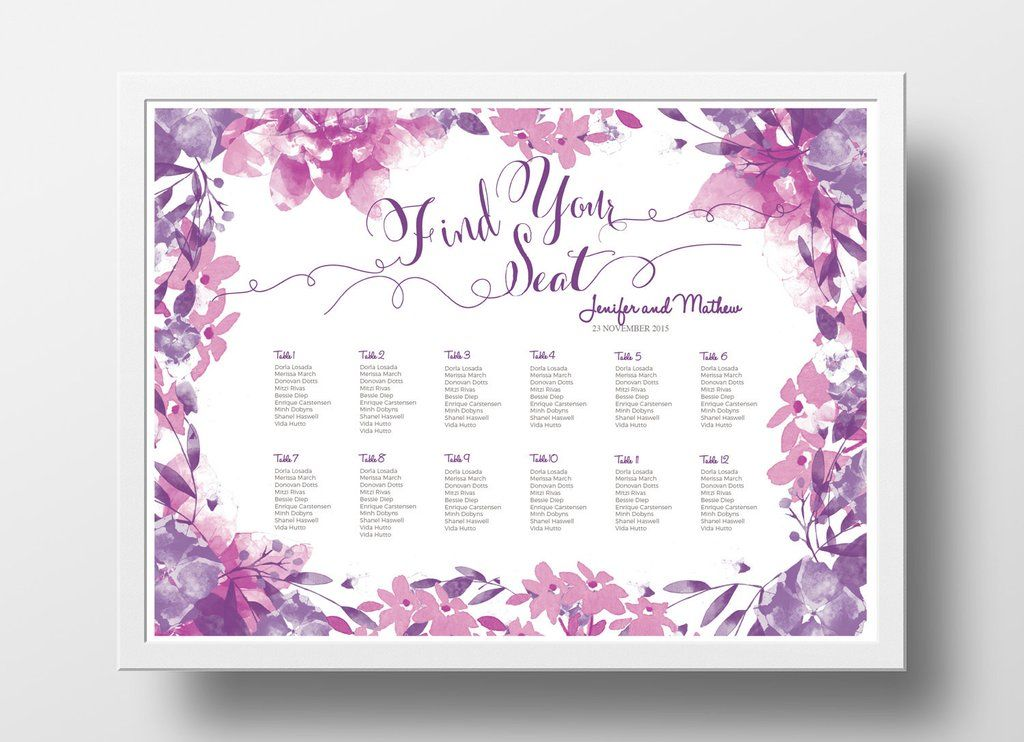 Wedding seating chart poster diy editable powerpoint template floral pink and purple also rh pinterest