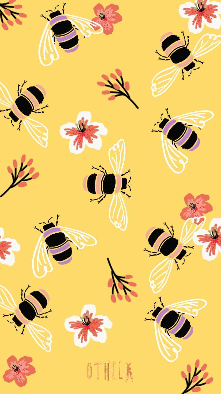 Bee Illustration Abeja Wallpaper Yellow Amarillo Creative Botanical Fondos De Pantalla Amarillos Iphone Fondos De Pantalla Fondos De Pantalla De Iphone