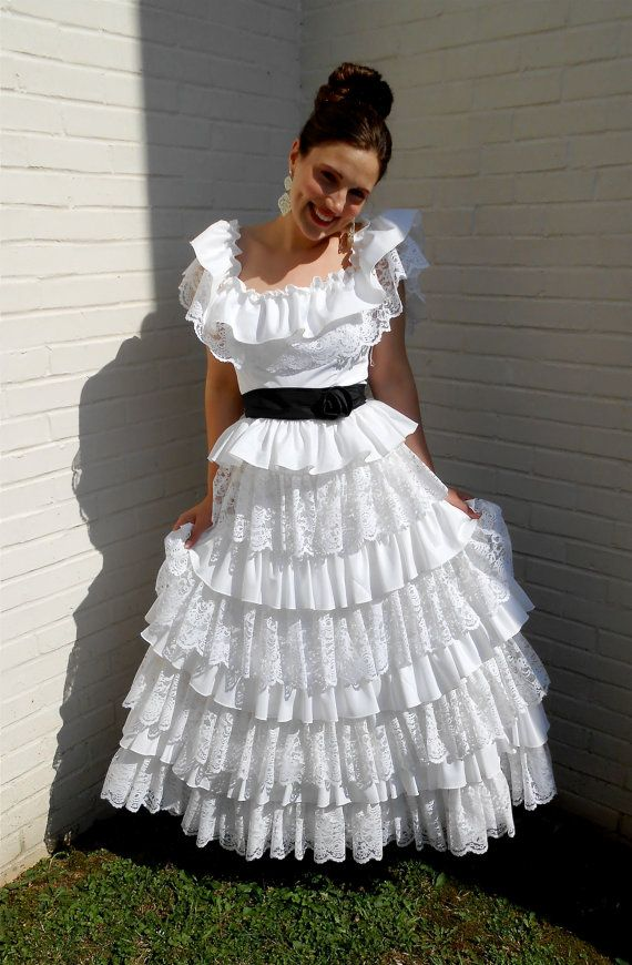 Vintage 1960s UNION MADE ruffled / tiered layers of lace southern ...