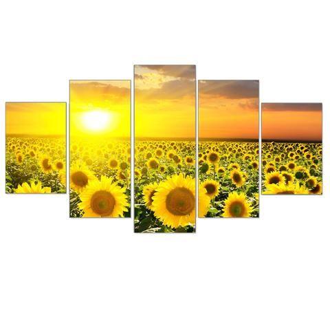 Sunflower Field, 5 Piece Panel Wall Art Set   Wall art sets, Panel ...