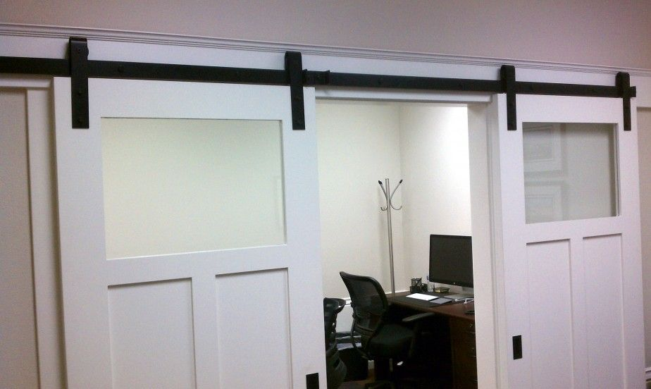 Furniture Excellent Double White Painted Craftsman Barn Doors
