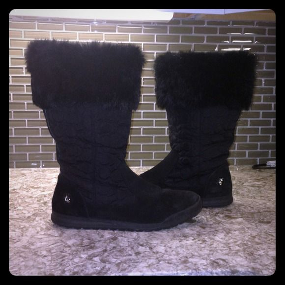 """Coach boots. Coach tallen boots. Black coach boots with suede on the bottom trim, classic """"C"""" material pattern and rabbit fur on the top trim. Box included. Great condition almost new condition. Worn a handful of times. I'm a size 9.5 and with heavy socks these are a perfect fit. Coach Shoes"""
