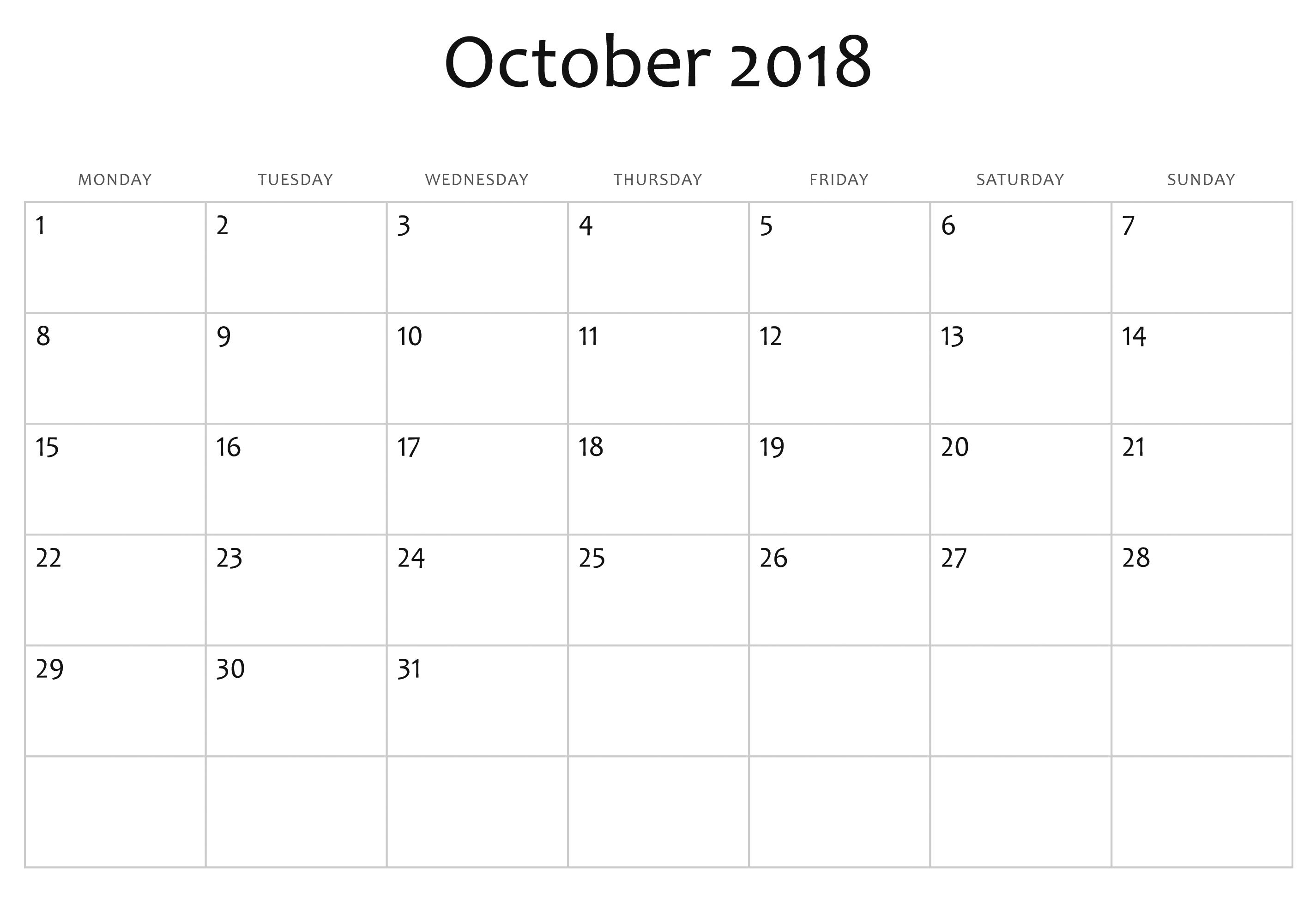 Printable Calendar October 2018 Free October 2018 Calendar