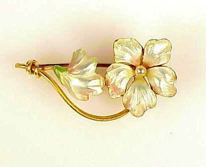 Art Nouveau 14K Gold, Enamel & Seed Pearl Floral Brooch. hallmarked by Whiteside & Blank. Origin: America, ca. 1900.