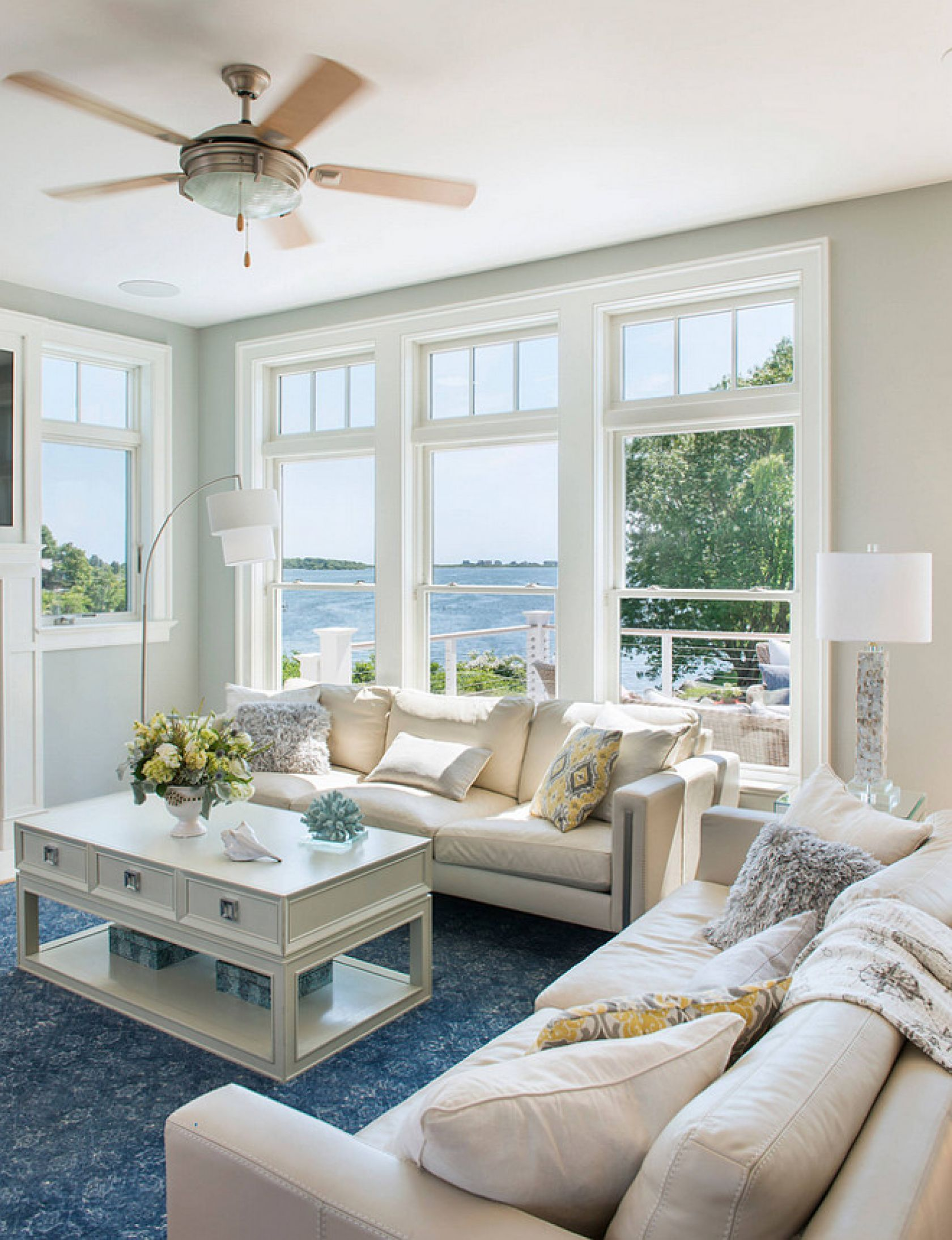 Love The Blue Rug With Everything Else White Living Room Beach