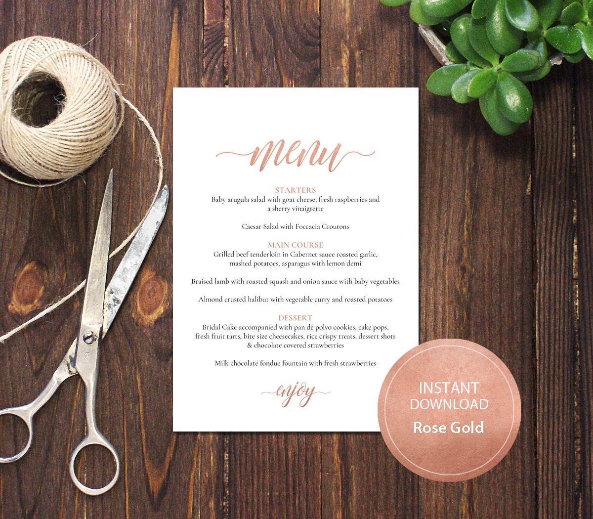 bridal shower invitations free printable templates%0A PDF Template  x  Menu Wedding Bridal Shower INSTANT DOWNLOAD Rose Gold Diy  Table Menu calligraphy Editable Menu Printable Digital  DP       by
