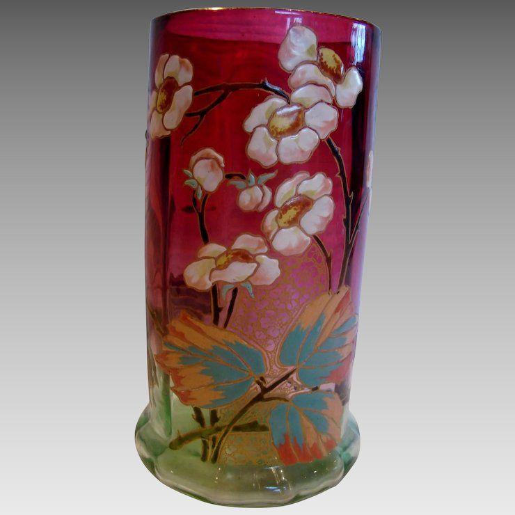 Decorative Arts Antique French Art Glass Vase Unique Flowers Art Glass