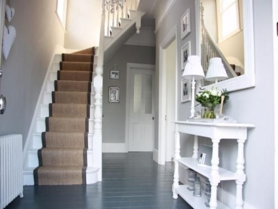 Grey And White Carpet Runner: Grey Painted Floorboards And Natural Runner