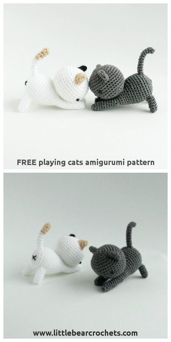 Free Playing Cats Crochet Amigurumi Pattern | Amigurumi | Pinterest ...