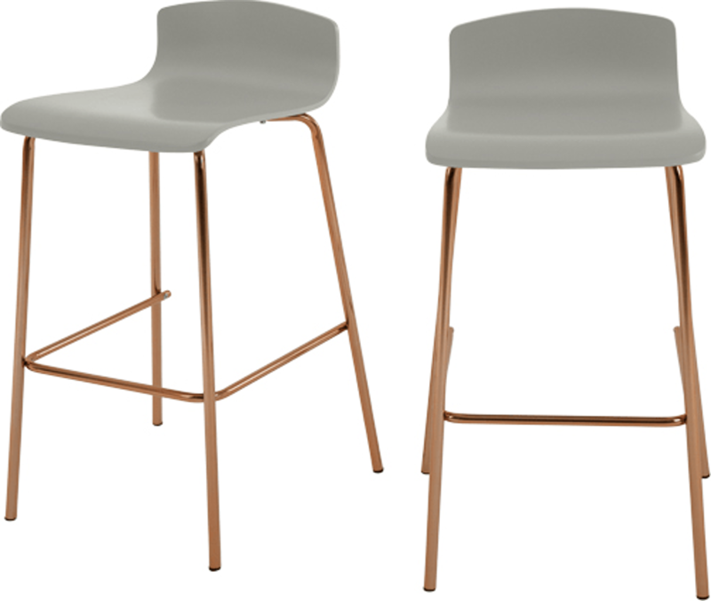 New Home Designs Latest Ultra Modern Kitchen Designs Ideas: Set Of 2 Syrus Barstools, Grey And Copper