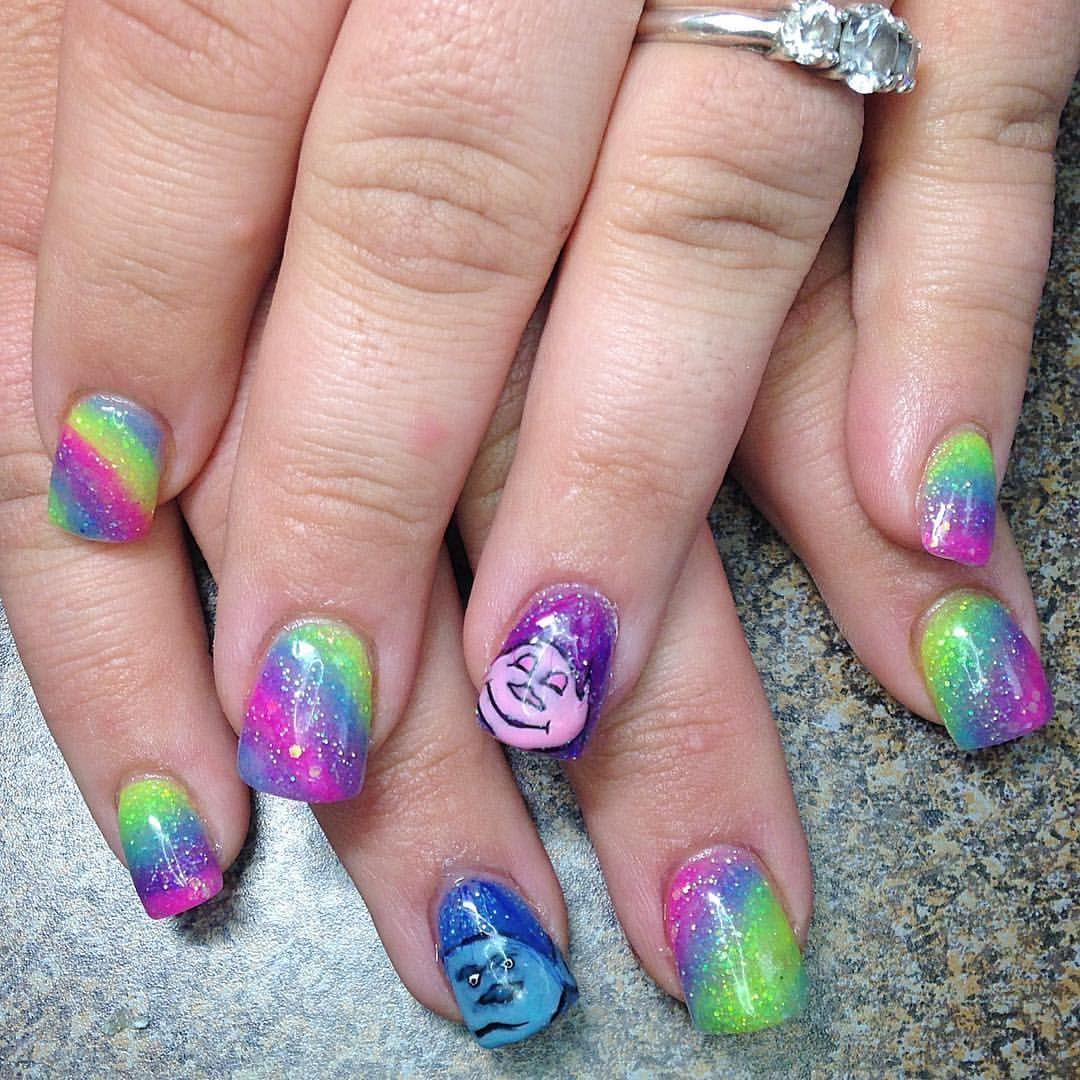 Acrylic Nail Art Glitter Rainbow Bright Colors Troll Poppy Nails