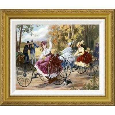 """Global Gallery 'Tricyclists In The Park' by Henry Bell Framed Painting Print Size: 18.6"""" H x 22"""" W x 1.5"""" D"""