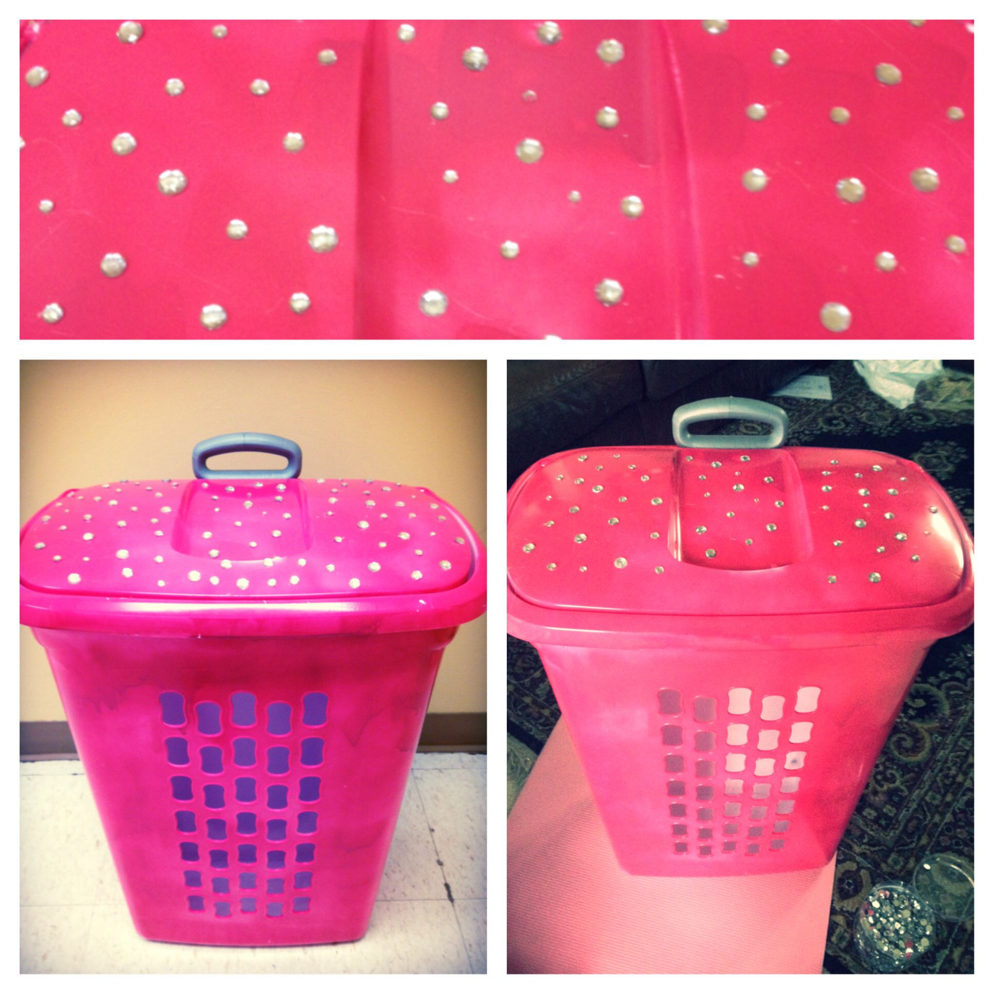 Diy Pink Laundry Basket Spray Painted Pink And Bedazzled With Gem