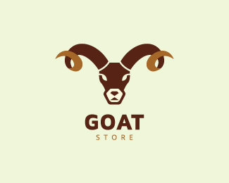 Animal Logo With The Shape Of A Goat Head With Stylized Horns With Brown Colors Logo Design Logo For Sale Goat Animal Farmin Animal Logo Logo Design Logos