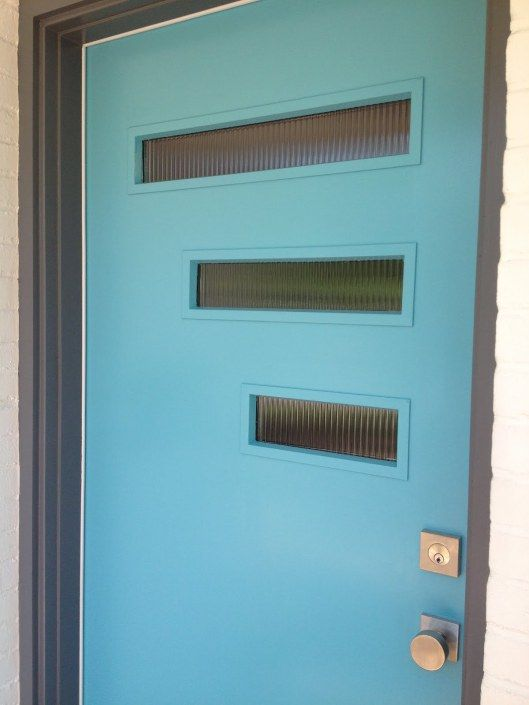 Mid Century Modern Mcm Blue Door With Glass Panels I