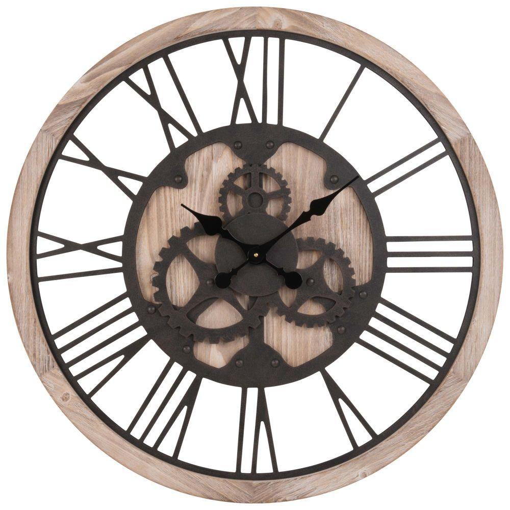 Horloge à Rouages Coloris Naturel Et Noir D79 En 2019