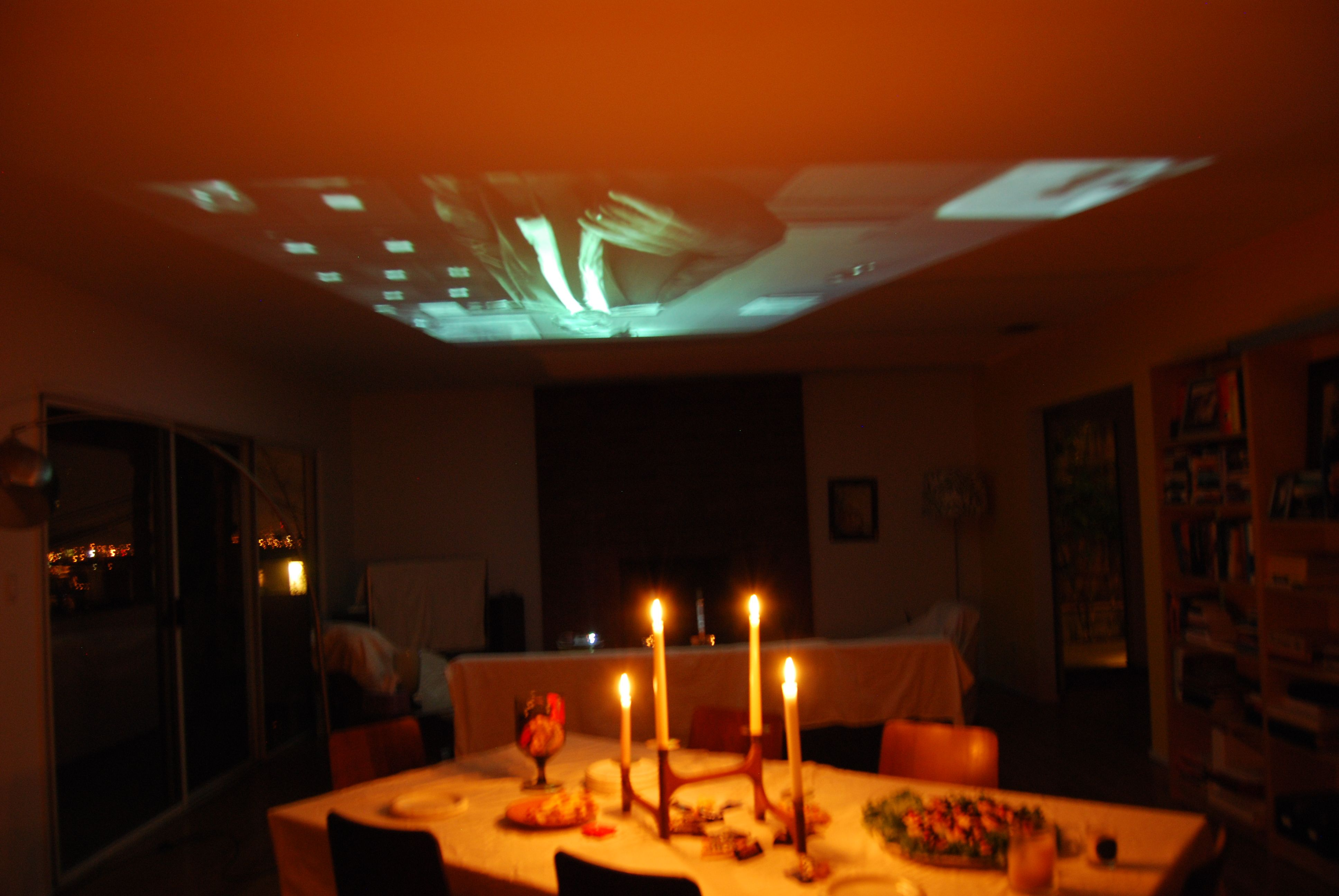 Halloween party... we borrowed a friend's projector and