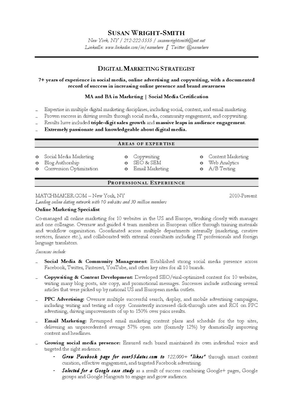 Digital Marketing Strategist Resume Sample Marketing Resume Digital Marketing Chronological Resume