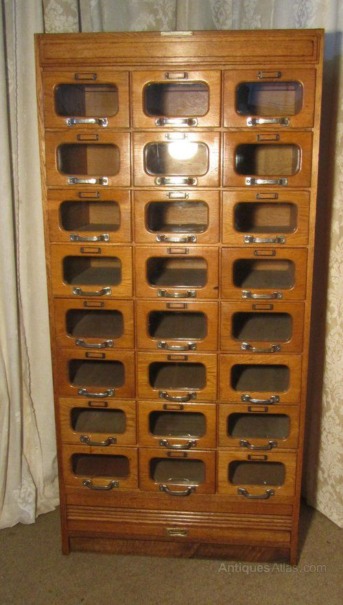 Charmant Art Deco Tall Haberdashery Cabinet, Counter Shop