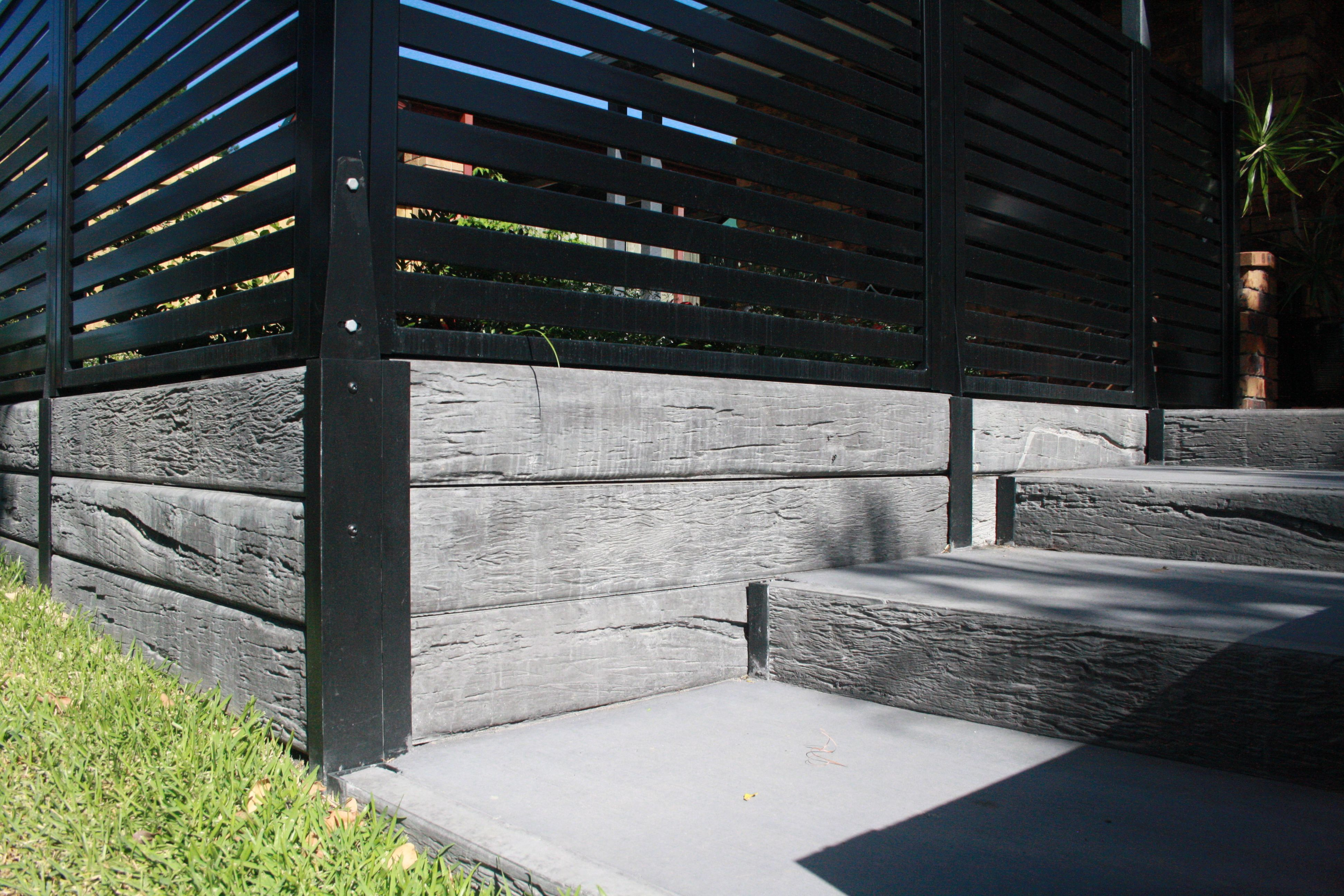 Timber Look Concrete Sleepers And Steel Posts With Steps