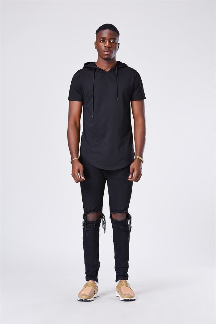 Dark Forest Streetwear Goth Side Zipper Hooded Mens T Shirt Top