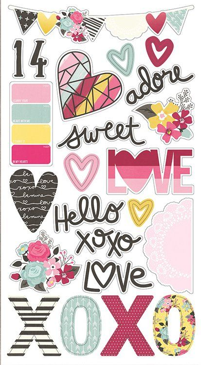 Simple Stories Love And Adore Collection Chipboard Stickers