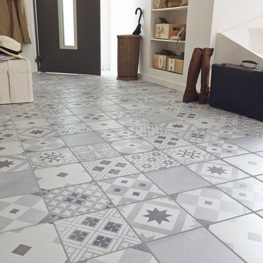 Carrelage int rieur gatsby artens en gr s gris blanc et for Carrelage smart tiles leroy merlin