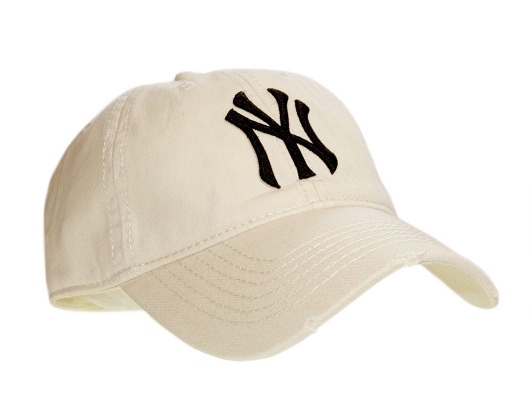 NY Yankees Distressed Baseball Cap B05 Beige  2cbd1419d20