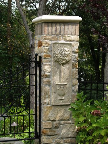 Stone Entrance Pillars : Old wheatley road traditional landscape new york