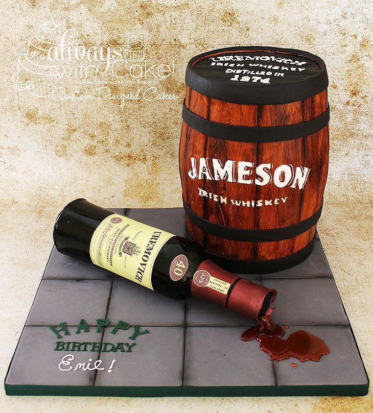 Jameson Whiskey Barrel Birthday Cake 100 Edible