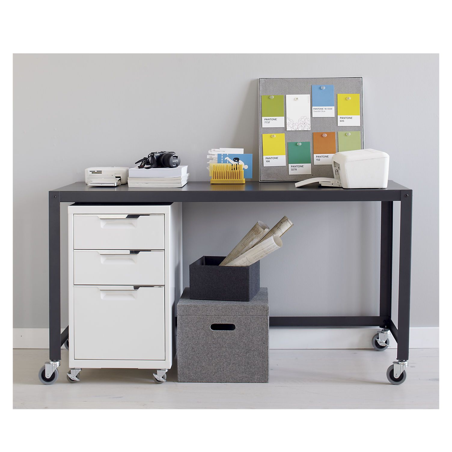 cb2 office. Go-cart Carbon Rolling Console Table Cb2 Office