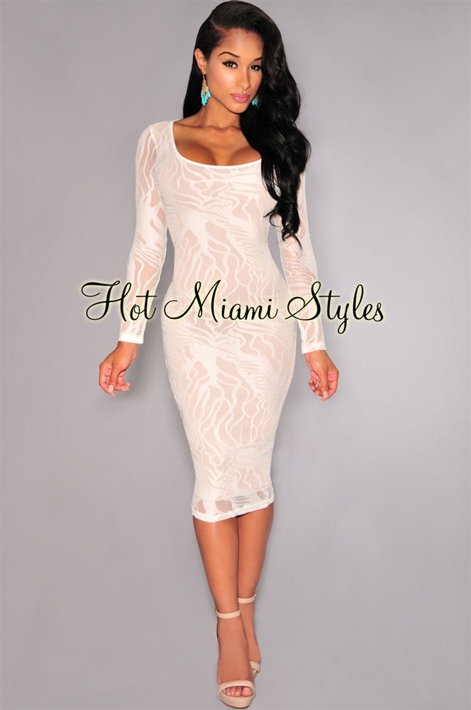 Ivory Mesh Nude Illusion Long Sleeve Knee-Length Dress