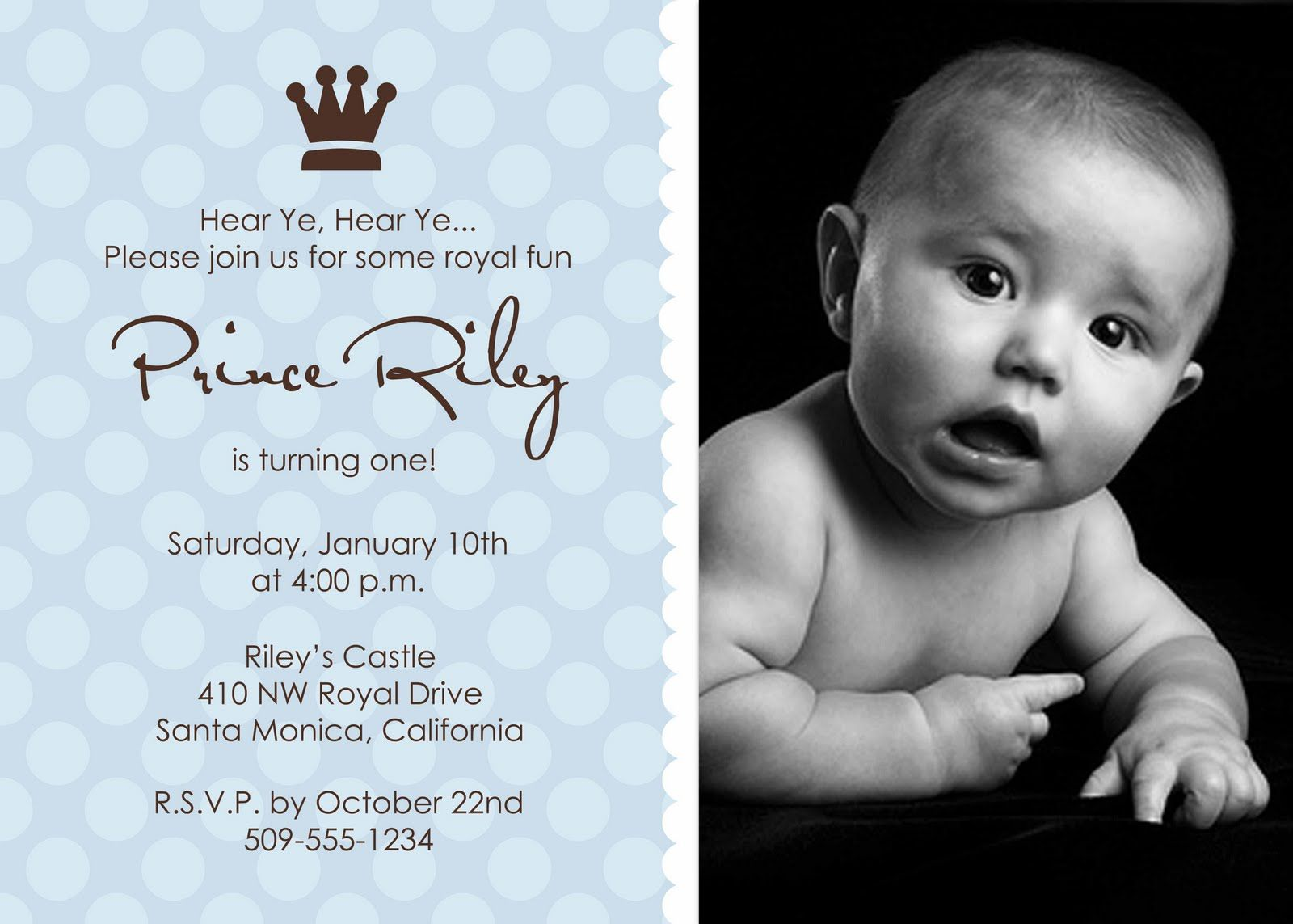 prince2] 1st birthday boy invitations | Baby | Pinterest | Birthday ...