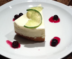 Lime Cheesecake with Blueberry compote