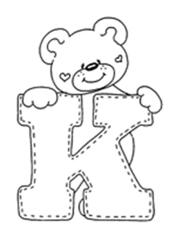 letra K para colorear | Alphabet clipart | Pinterest | Applique ...