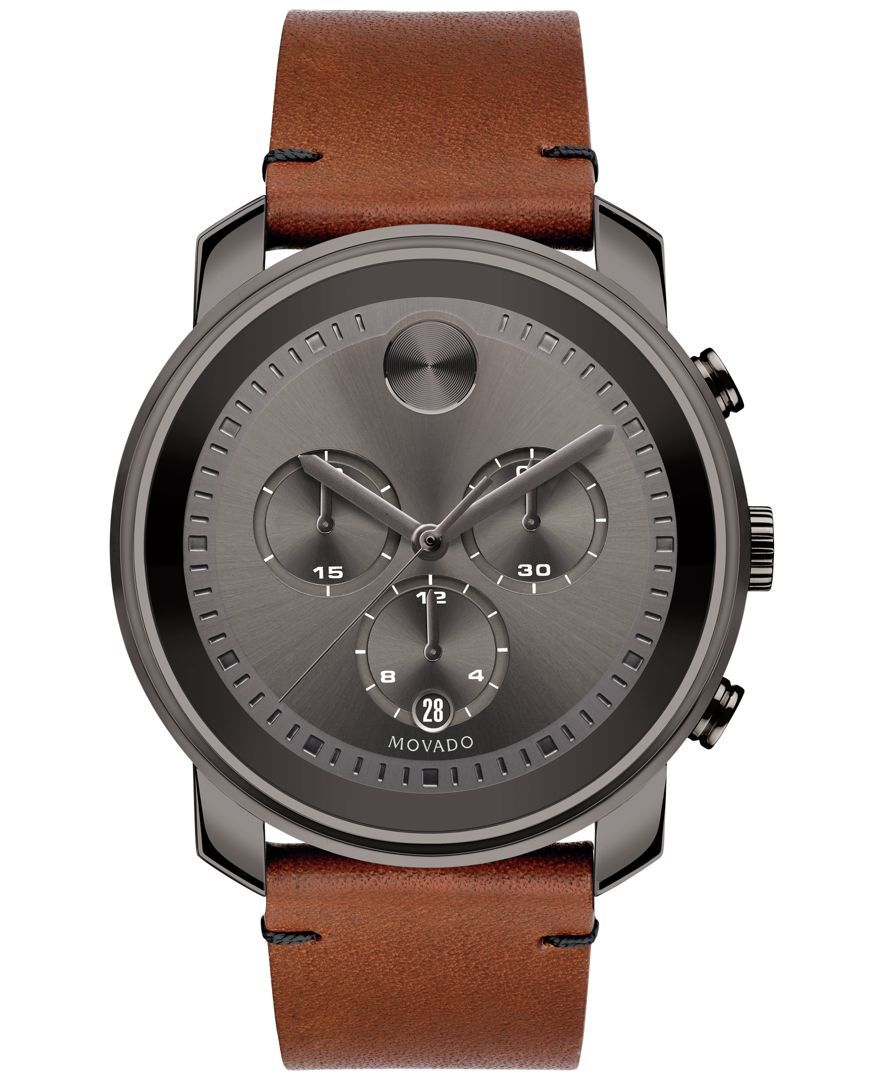 Movado Men's Swiss Chronograph Bold Rustic Brown Leather Strap Watch 44mm 3600367