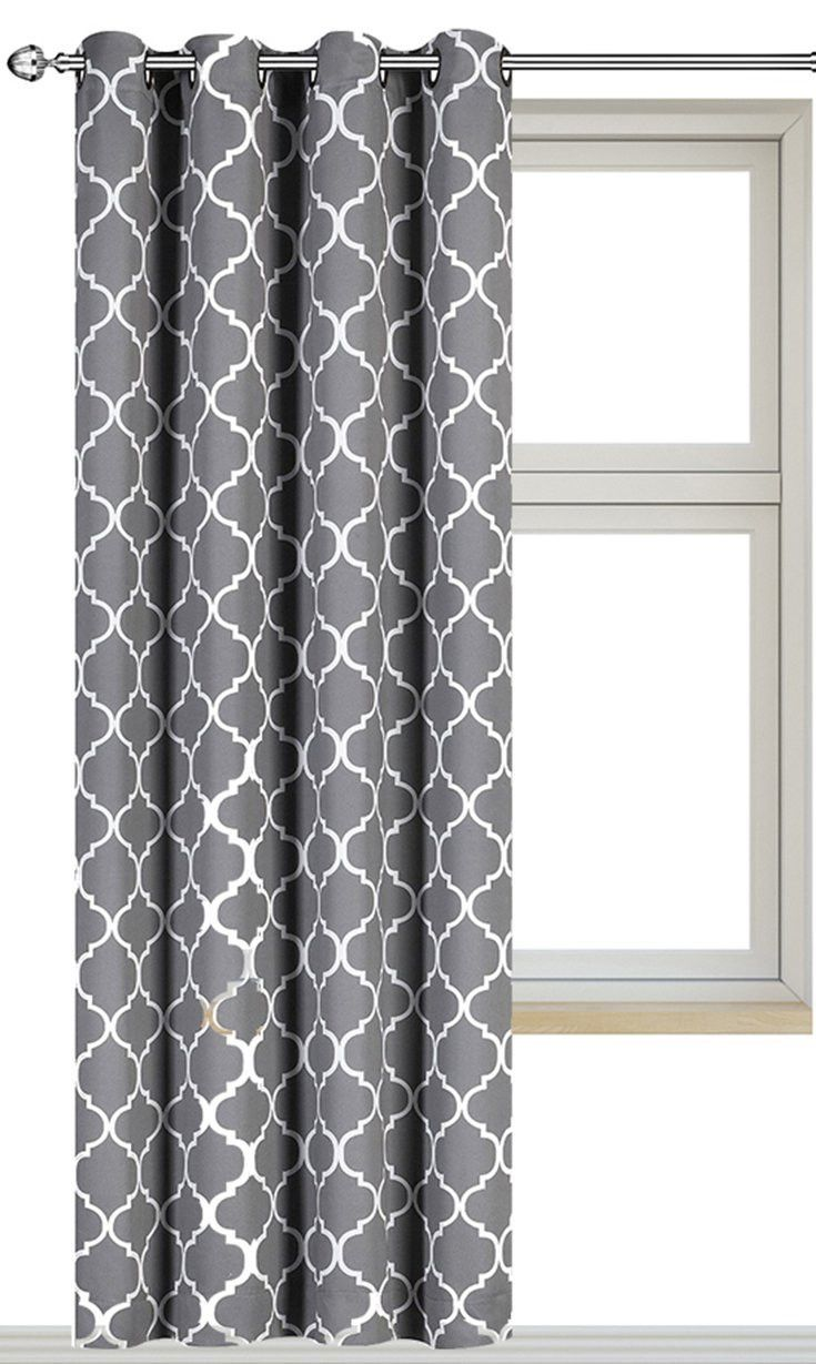 Long patterned curtains - Buy Printed Blackout Room Darkening Printed Curtains Window Panel Drapes Grey Color Pattern 1 Panel 52 Inch Wide By 84 Inch Long Printed Pattern By