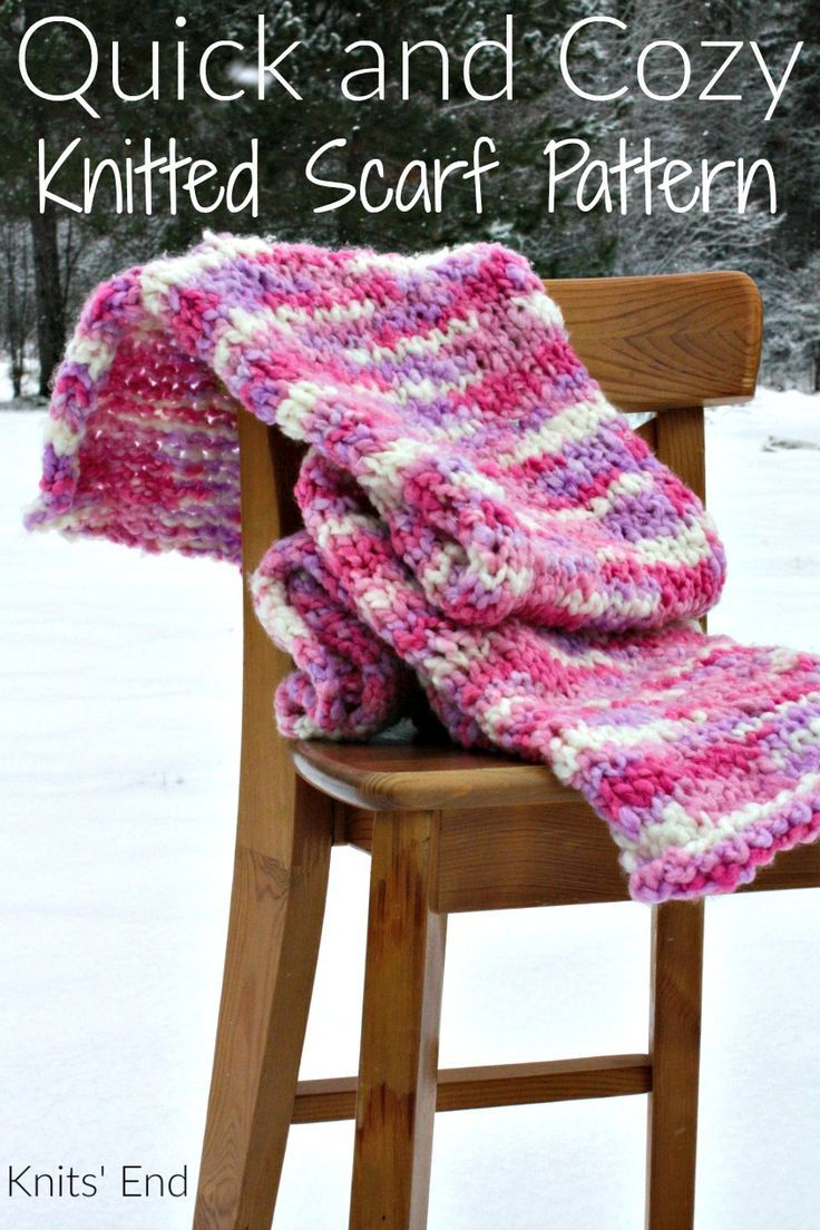 Quick and Cozy Knitted Scarf Pattern worked in a super bulky yarn ...