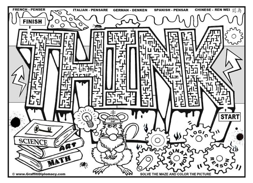 Educational Graffiti Coloring Page For Older Kids Abstract