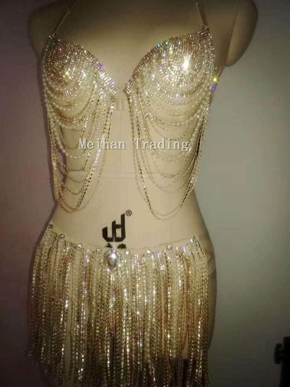 9db79194b2 Sexy Gold Crystals Tassel Bikini Clothing Set Nightclub two-piece Outfit  Party Costume Rhinestones Bra Stretch Short Swimwear. Yesterday s price  US   88.00 ...