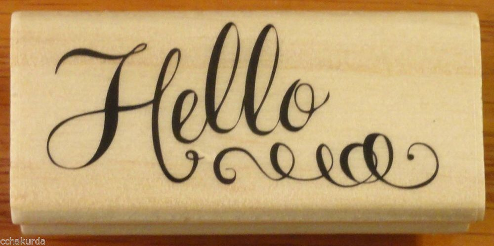 Cursive Hello Rubber Stamp New Wood Mount Scrapbooking Michaels