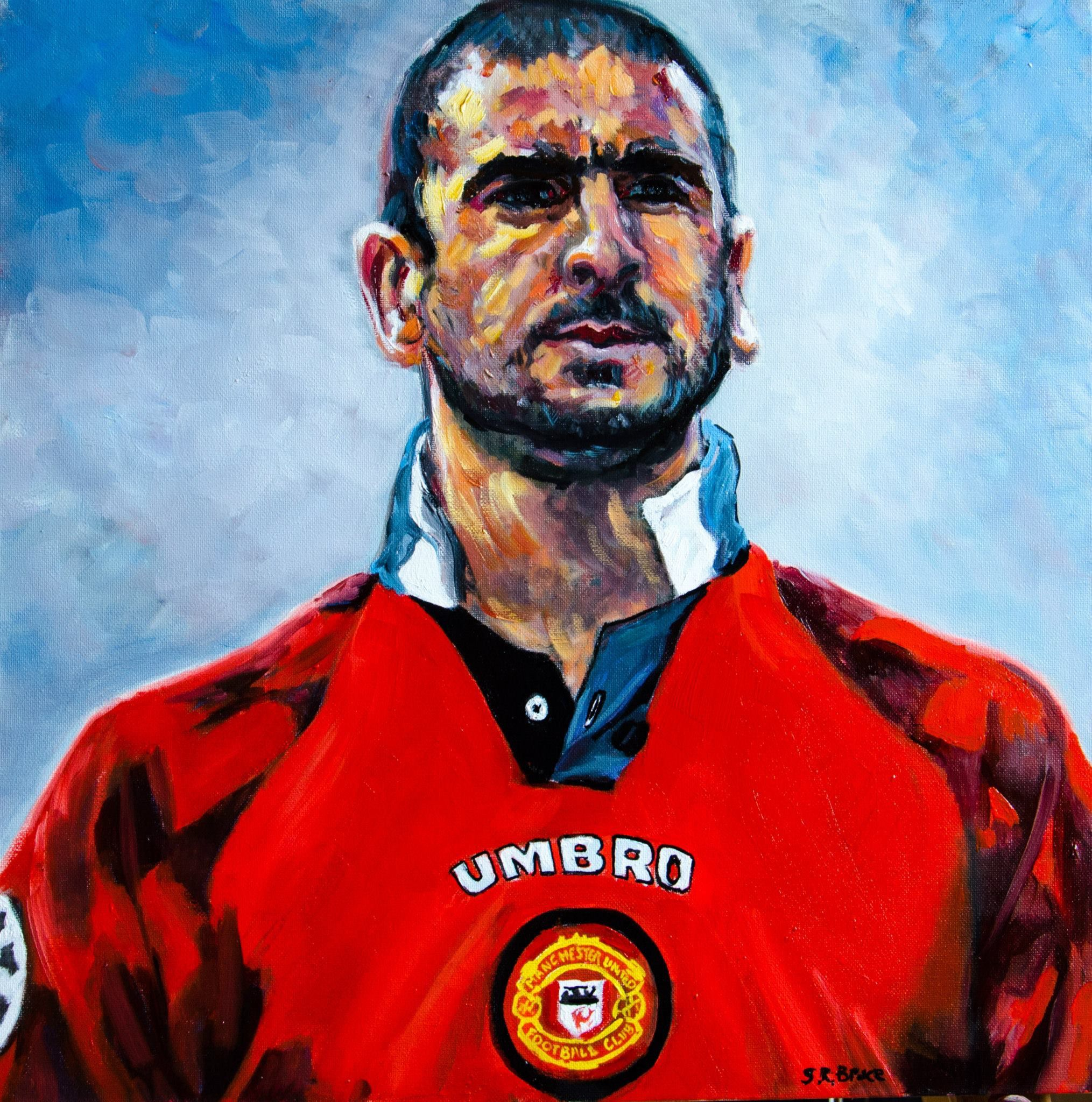 Han skyller helt enkelt på manchester united plc:s. Manchester United Legend Eric Cantona. oil on canvas 20x20 ...