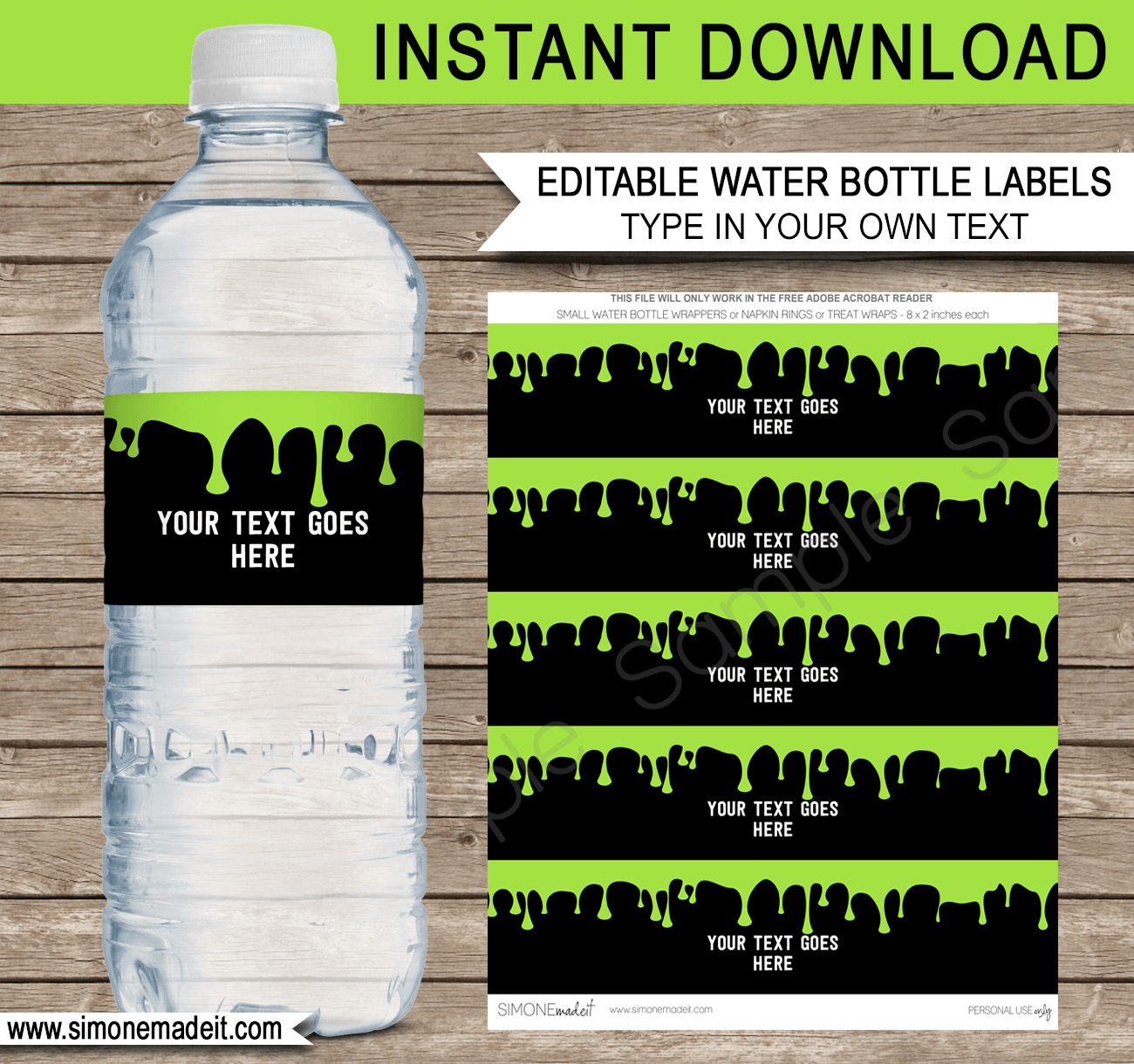 Slime Party Water Bottle Labels Template Green Water Bottle Labels Template Bottle Label Template Printable Water Bottle Labels