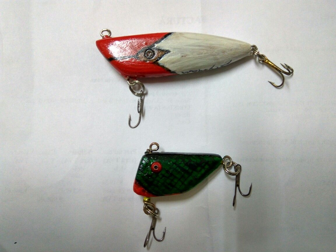 Hand carved and painted wooden lures vintagefishinglures