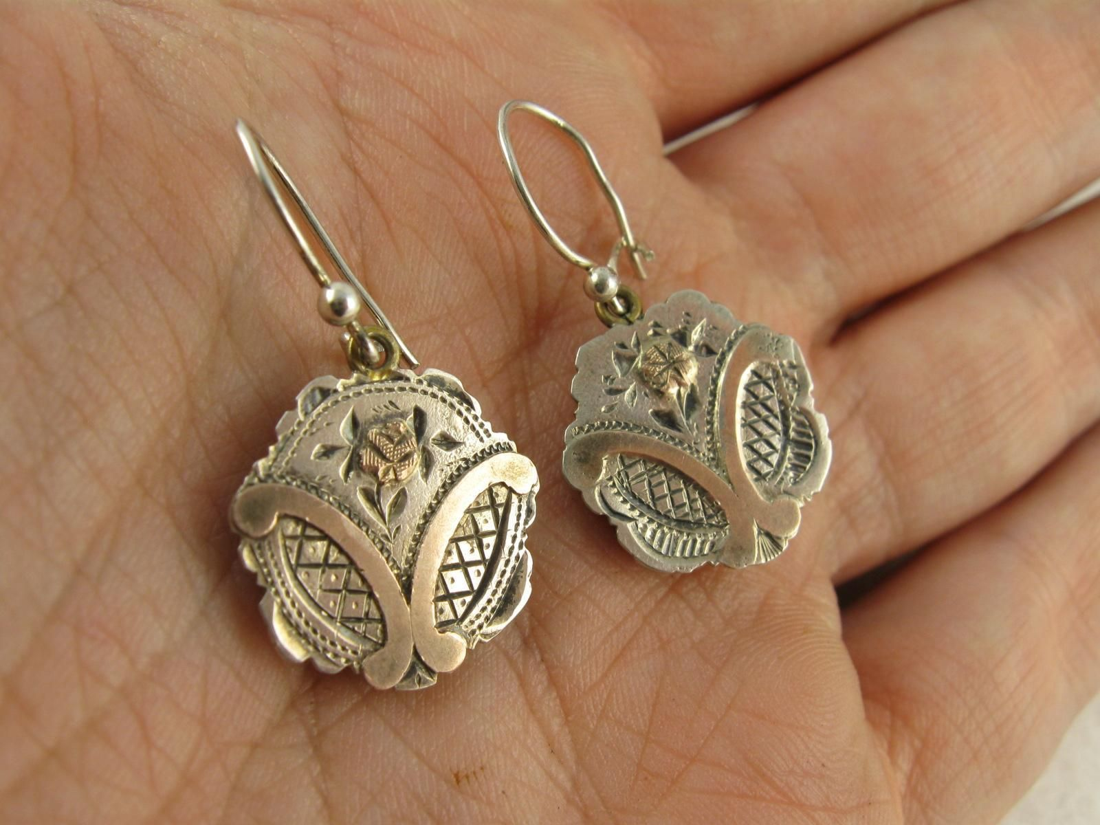 Antique Victorian Silver Rose Gold Aesthetic Movement Earrings