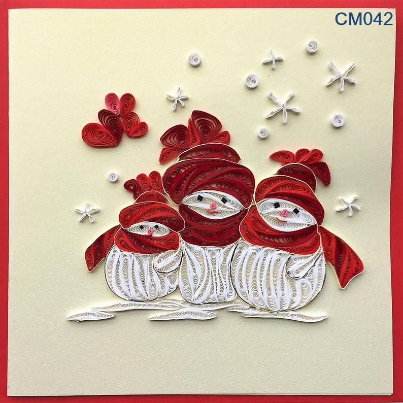 Snowman and Rudolph Quilling Cards for Christmas