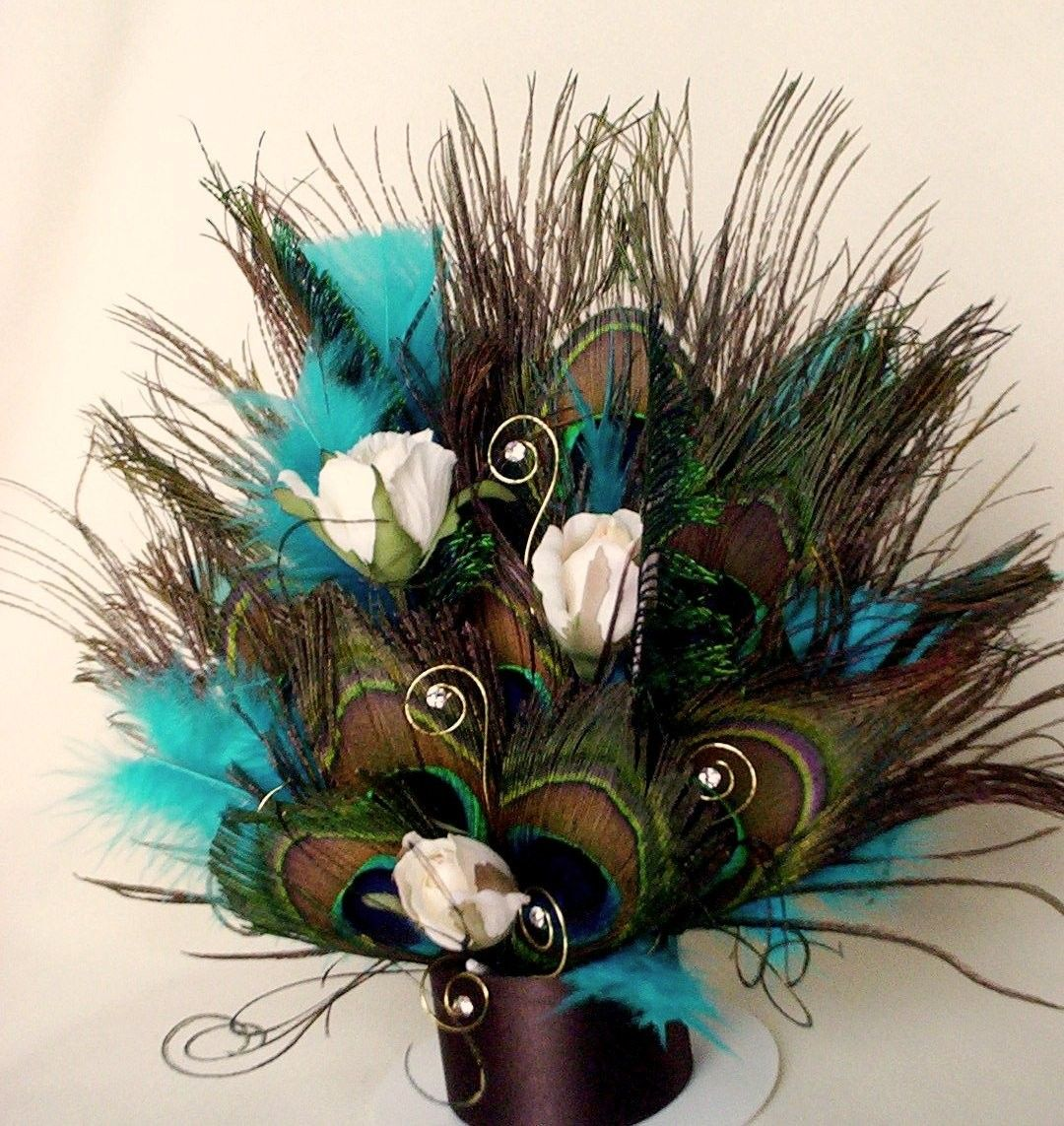 Peacock Feather Wedding Cake: Peacock Cake Topper Turquoise Brown